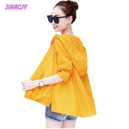 Vêtements de climatisation en Ligne-Été Sun protection vêtements femmes à capuche respirante climatisation chemise à manches longues grande taille lâche mince survêtement B045