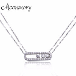 Wholesale Necklace Real Stone - Moonmory Famous Jewelry 100% Real Pure 925 Sterling Silver Move Zircon Necklace For Women Wedding Engagement Necklace Jewelry