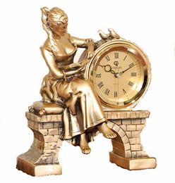 Wholesale Beauty Craft - Fashion resin crafts desktop clock reading beauty statue European golden home decor statue clock fine crafts jumping movement