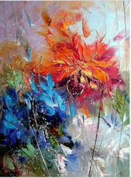 Pintura a óleo laranja abstrata flores on-line-NEW-Handpainted Abstract Canvas Oil Painting Art Wall Decor Azul Flor De Laranja