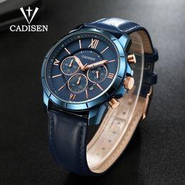 e716acf3bce Compre CADISEN Mens Relógios Top Marca De Luxo Relógio Esportivo Dos Homens  De Couro Militar De Quartzo Relógio Relógio Masculino À Prova D  Água  Relogio ...