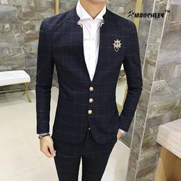Wholesale Men Boys Slim Fit Suits - 2PCS Set Jacket with Pants Slim Fit Mens Prom Suits Boy Party Dress Suit Wedding Suits Classic Mandarin Collar Plaid Design 2018