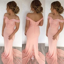Wholesale Long Baby Blue Prom Dresses - 2018 New Mermaid Pink Bridesmaid Dresses Off Shoulder Applique Backless Long Maid of Honor Gowns Custom Made Prom Evening Dress Baby Shower