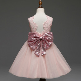 Wholesale Pink Dress Flowers Infant - Fashion Newborn Baby Girl Clothes Dress Wedding Birthday Gift Flower Kids Dresses Bow Pattern For Girls Baby Infant Party Princess Skirt