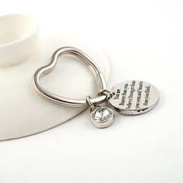 Wholesale Heart Shaped Bottle Openers - Titanium steel Letters Keychains Heart Shaped Friends Lovers Couples Key rings with Birthstone Lettering Inspirational Gift