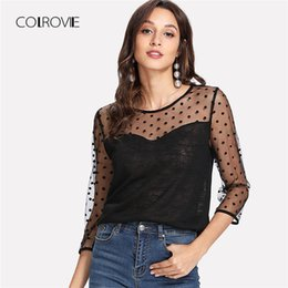 Wholesale Neck Yoke - COLROVIE Dot Mesh Yoke Sweetheart Top 2018 New Arrival Black Round Neck Casual Woman Top 3 4 Sleeve Sheer Contrast Mesh Blouse