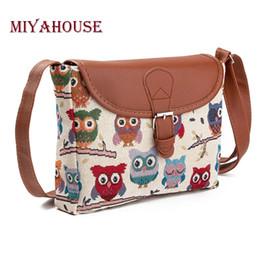 Wholesale Cartoon Owl Handbag - Miyahouse Summer Women Messenger Bags Flap Bag Lady Canvas Cartoon Owl Printed Crossbody Shoulder Bags Small Female Handbags