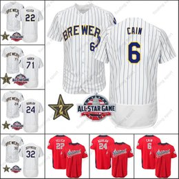 Milwaukee 2018 All-StarJersey 6 Lorenzo Cain 22 Christian Yelich 24 Jesus  Aguilar 71 Josh Hader 32 Jeremy Jeffress White Red On Field 916045901