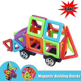 Discount 3d toddler - 64Pcs Kids Magnetic Building Blocks Colorful Construction Educational Toys Gift ducational 3D Tiles Set Toy for Toddler Kids FFA183