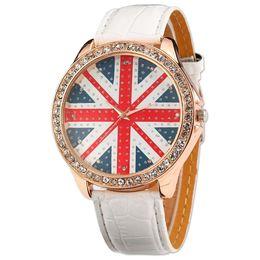 2019 frau jacked leder Frauen-Dame Girl Union Jack Uk britische Flagge weiß Leder Quarzuhr WAA211 rabatt frau jacked leder