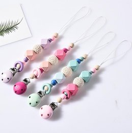 Wholesale wooden pacifier - 4 Colors Baby Silicone Pacifier Clips Infant Wooden Chain Soother Nipple Holder Pacifier Clip Bead EEA365 120PCS