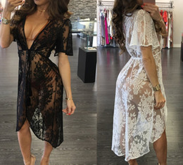 Wholesale party wear dresses midi - Women Lace Dresses Perspective Summer Bath Beach Seaside Wear Sexy Swimwear Hollow Out Party Dress