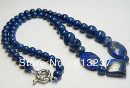 "Wholesale egyptian lazuli lapis - hot free Shipping new 2014 Fashion Style diy Real Natural Egyptian Lapis Lazuli Beads Necklace 18"" MY5252"