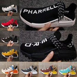 Wholesale Red Trails - Pharrell x Original HU NMD Trail HUMAN RACE NERD black Colette moon noble ink pale nude men womens running Shoes sports shoes sneaker