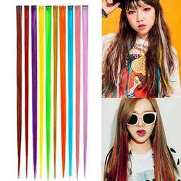 2019 extensions multi-couleurs Multi-couleur longue sangle synthétique longue clip dans les extensions de cheveux humains pièce extensions multi-couleurs pas cher