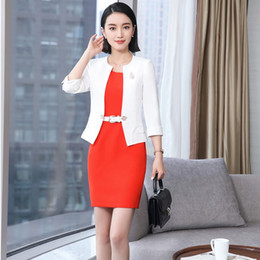 novo estilo vestidos profissionais Desconto 2018 Novos Estilos EleWhite Primavera Verão Mulheres de Negócios Profissionais Blazer Ternos Com Jaquetas E Vestido Para Senhoras Outfits
