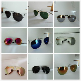 Wholesale high end sunglasses - High-end Handsome Colorful Film UV Protection Eye Sunglasses Fashion Trend Sunglasses Reflective Mirror Metal Full Frame Sunglasses