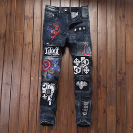 Wholesale Military Badge Embroidery - New Patched Holes Straight Jeans Men Cowboy Cool Embroidery Badge Spliced Design Dark Blue Washed Jeans Denim Pants Autumn 2018
