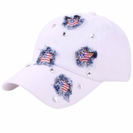 wholesale beads usa Coupons - Myelo Dropshipping Star USA Flag Patchwork Crystal Beads Adjustable Baseball Cap Women Summer Outdoor Snapback Caps Gorra Mujer