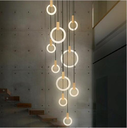 stair pendant Coupons - Contemporary Wood LED Chandelier Lighting Acrylic Rings Led Droplighs Stair Lighting 3 5 6 7 10 Rings Indoor Lighting Fixture