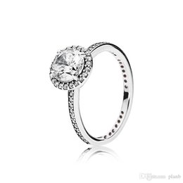 Wholesale real fit women - Real 925 Sterling Silver CZ Diamond RING with LOGO and Original box Fit Pandora style Wedding Ring Engagement Jewelry for Women