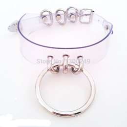 Wholesale Wholesale Gothic Metal Punk Rock - whole saleHarajuku Handmade Sexy Clear leather O-Round Collar Punk Rock Gothic Choker Necklace Silver metal color torque goth
