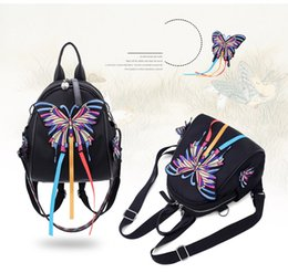 Wholesale Ms Wind - 2018 New Nylon Backpack National Wind 3D Butterfly Embroidery Trend Work Exquisite Ms. Backpack High-capacity backpack