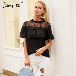 Wholesale vintage ruffled white blouse - Simplee Sexy white lace blouse shirt women tops Transparent vintage chiffon blouse female Ruffle short sleeve summer 2018
