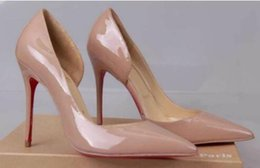 Foto high heels online-Echtes Foto Frauen Nude Lackleder Punkt Zeh dünn Red Bottom High Heels Schuhe Pumps Party Kleid Schuhe kommen mit Schuhen Box und Staubbeutel