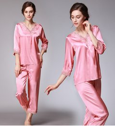 Wholesale Woman Elegant Pajamas - YAO TING brand Elegant Women Pajamas Home clothing Sets Lace trim Anti real silk Sleep comfortable Shirt Pajamas Bathrobe soft Pajamas Sets