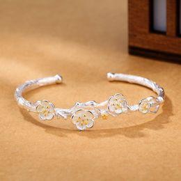 Wholesale Cherry Plum Blossom - 925 Silver Plated Plum Blossom Charm Cuff Bracelets For Women Elegant Cherry Blossoms Wedding Cuff Jewelry