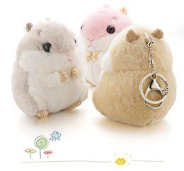 Wholesale Mini Handbag Tin - Mini Hamster Keyrings Keychains Faux Rabbit Fur Pompom Fluffy Trinkets Car Handbag Pendant Key Chian Ring Holder