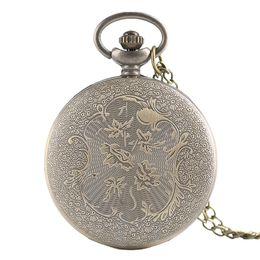 Wholesale dragon phoenix jade pendant - Half Hunter Classic Bronze Hollow Dragon & Phoenix Design Quartz Fob Pocket Watch With Necklace Chain Fashion Pendant Clock Gift
