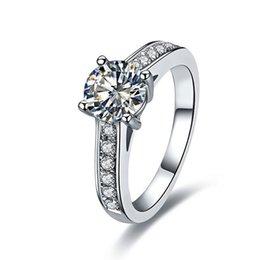 2019 платиновые кольца для девочек 1ct прекрасный прекрасный подруга подарок обручальное кольцо синтетический алмаз для женщин стерлингового серебра 925 участия ювелирные изделия платины покрытием скидка платиновые кольца для девочек