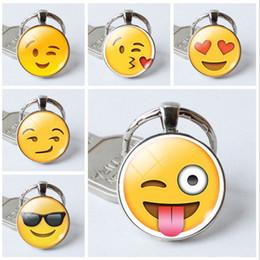 Teclas sonríen online-¡CALIENTE! Color de plata Multi Emoji fotos Cabujón de cristal llavero cara de la sonrisa llavero llavero llavero titular de la joyería regalo
