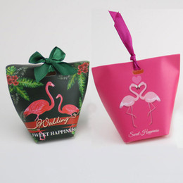 Decorações de fita de papel on-line-Flamingo Doces Presente Wraps Papéis Sacos de Festa de Casamento Sacos De Papel Caixa Havaí Xmas Embalagem Caixas Com Corda De Fita Decoração De Mesa WX9-802