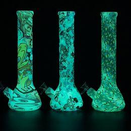 Wholesale Silicone Base - Glow in the dark beaker base water smoke pipe Mini Multi Silicone Water Pipe printing glass bongs glass water pipe wax dab rig