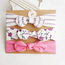 Wholesale print cardboard - Retail 3pcs set Newborn Girls Cute Headband Floral Dots Bow Ears headband With cardboard Baby Accessories 0-3 Years E70946