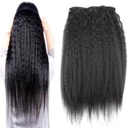 cabello humano natural yaki Rebajas Clips rectos rizados en las extensiones brasileñas del cabello humano 120g 9pcs / set clips gruesos de Yaki Ins Remy clip rizado rizado natural