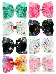 hair design multi Promo Codes - 8 inch Candy Colors JOJO bow baby hair barrettes Rainbow Gilding Hot drill Unicorn Printed Design Girls Hair Clips JOJO SIWA Hair Accessory