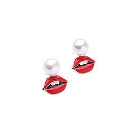 Denti acrilici online-Perle acriliche finte Perlate Orecchini smalto rosso smaltato Processo Orecchini dorati Clor Plated Ear Boucle D'oreille