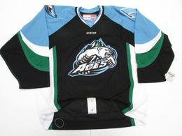Wholesale Custom Ace - Cheap custom ALASKA ACES ECHL BLACK Ice hockey jerseys PRO CCM HOCKEY JERSEY