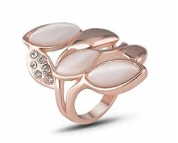 arte jóias de pressão Desconto Pequena jóia por atacado subiu anel de diamante de opala de ouro
