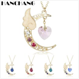 Wholesale Sakura Cards - Japanese Anime Jewelry Card Captor Sakura Sailor Moon Magic Nebula Moon Wings Necklace Sweet Pendants Rhinestones Necklaces