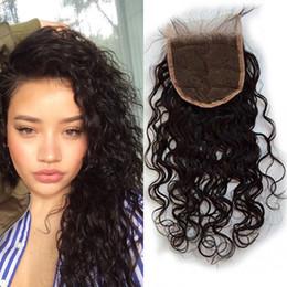 Dessus ondulé en Ligne-Fermetures en dentelle mouillées et ondulées Cheveux de bébé Vierge Vague d'eau mongole Cheveux humains Blanchis Noeuds Top Fermetures