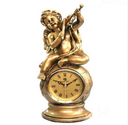 Wholesale Collectible Watches - Fashion Home Decor Resin Crafts Desktop Clock European Antique Watch Golden Violin Angel Statue Clock Table Clock