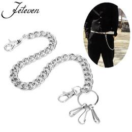 Wholesale heavy pants - Men's Waist Key Chain Silver Heavy Rock Metal Hip Hop Gothic Punk Style Pants Trousers Jean Biker Wallet Key Ring Long 48cm
