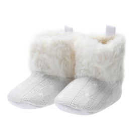Wholesale Knitted Baby Booties Wholesale - 2017 Winter Baby Girls Snow Boots Bowknot Children Shoes Booties Prewalker Crochet Knit Baby Shoes For Girls Boys