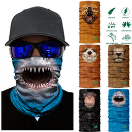Wholesale face fur - 3D Seamless Cut Animal Neck Gaiter Warmer Half Face Mask Halloween Headband Bandana Headwear Bicycle Head Scarf Cover