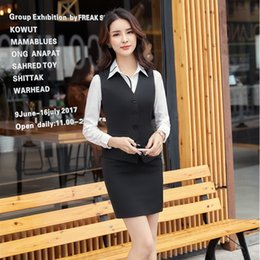b2a1c1454d41 Two Pieces Fashion Uniform Styles Skirt Suits With Vest + Skirt For Ladies  Office Work Wear Female Outfits Blazers Set Plus Size